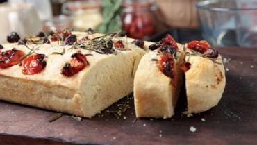 Olive, tomato and rosemary focaccia